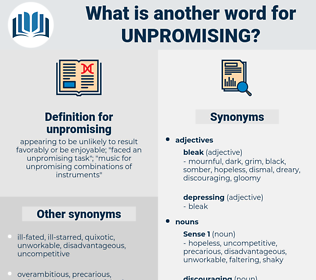 unpromising, synonym unpromising, another word for unpromising, words like unpromising, thesaurus unpromising