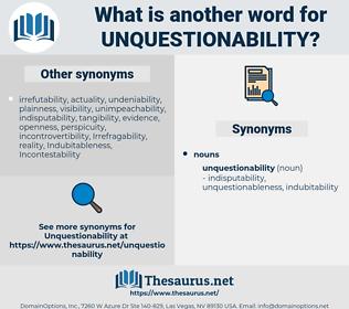 unquestionability, synonym unquestionability, another word for unquestionability, words like unquestionability, thesaurus unquestionability