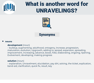 unravelings, synonym unravelings, another word for unravelings, words like unravelings, thesaurus unravelings