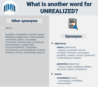 unrealized, synonym unrealized, another word for unrealized, words like unrealized, thesaurus unrealized