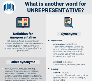 unrepresentative, synonym unrepresentative, another word for unrepresentative, words like unrepresentative, thesaurus unrepresentative