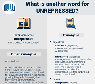 unrepressed, synonym unrepressed, another word for unrepressed, words like unrepressed, thesaurus unrepressed
