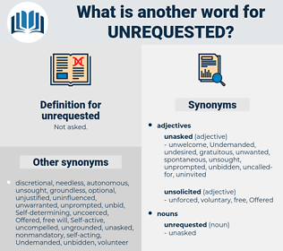 unrequested, synonym unrequested, another word for unrequested, words like unrequested, thesaurus unrequested