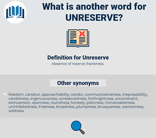 Unreserve, synonym Unreserve, another word for Unreserve, words like Unreserve, thesaurus Unreserve