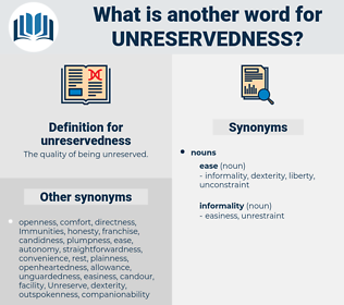 unreservedness, synonym unreservedness, another word for unreservedness, words like unreservedness, thesaurus unreservedness