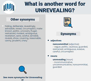 unrevealing, synonym unrevealing, another word for unrevealing, words like unrevealing, thesaurus unrevealing