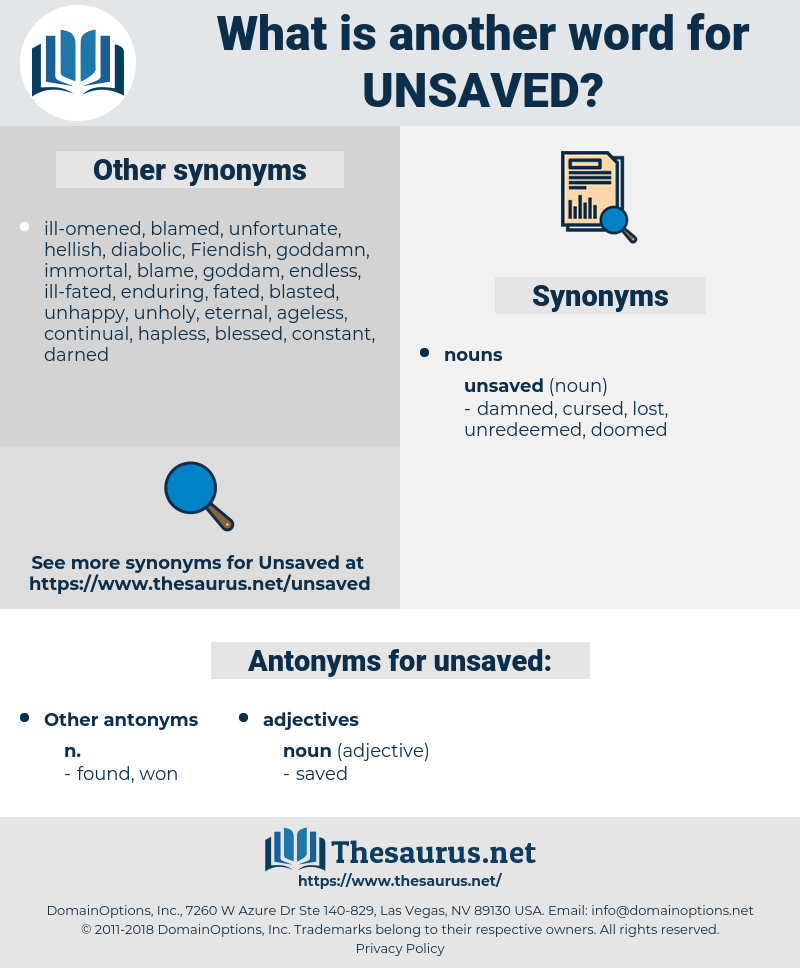 unsaved, synonym unsaved, another word for unsaved, words like unsaved, thesaurus unsaved