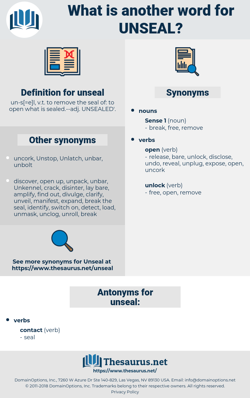 unseal, synonym unseal, another word for unseal, words like unseal, thesaurus unseal