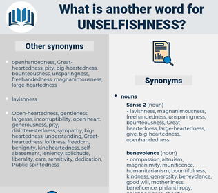unselfishness, synonym unselfishness, another word for unselfishness, words like unselfishness, thesaurus unselfishness