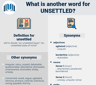 unsettled, synonym unsettled, another word for unsettled, words like unsettled, thesaurus unsettled