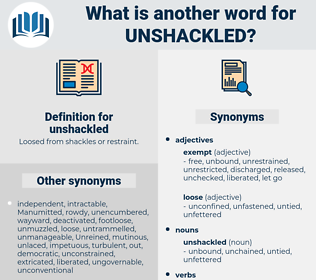 unshackled, synonym unshackled, another word for unshackled, words like unshackled, thesaurus unshackled