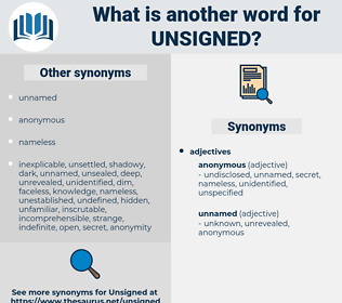 unsigned, synonym unsigned, another word for unsigned, words like unsigned, thesaurus unsigned