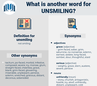 unsmiling, synonym unsmiling, another word for unsmiling, words like unsmiling, thesaurus unsmiling