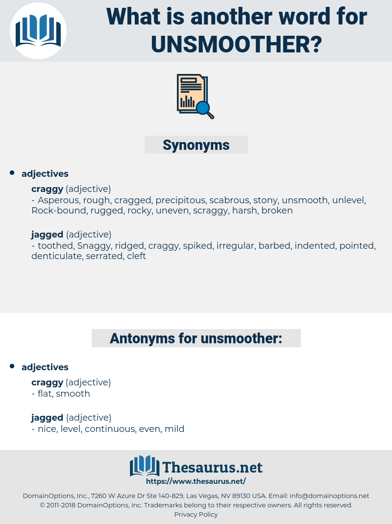 unsmoother, synonym unsmoother, another word for unsmoother, words like unsmoother, thesaurus unsmoother