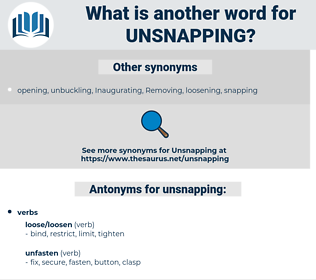 unsnapping, synonym unsnapping, another word for unsnapping, words like unsnapping, thesaurus unsnapping