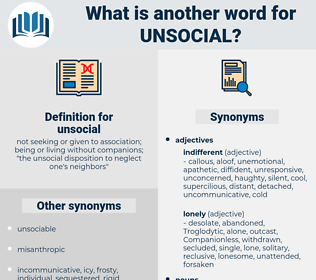 unsocial, synonym unsocial, another word for unsocial, words like unsocial, thesaurus unsocial