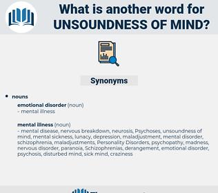 unsoundness of mind, synonym unsoundness of mind, another word for unsoundness of mind, words like unsoundness of mind, thesaurus unsoundness of mind