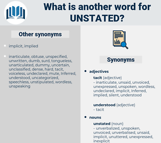 unstated, synonym unstated, another word for unstated, words like unstated, thesaurus unstated