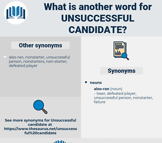 unsuccessful candidate, synonym unsuccessful candidate, another word for unsuccessful candidate, words like unsuccessful candidate, thesaurus unsuccessful candidate