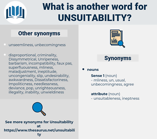 unsuitability, synonym unsuitability, another word for unsuitability, words like unsuitability, thesaurus unsuitability