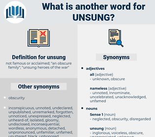 unsung, synonym unsung, another word for unsung, words like unsung, thesaurus unsung