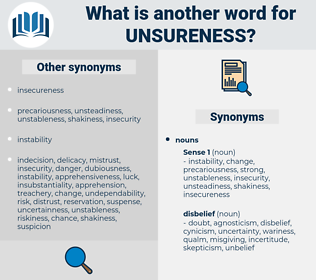 unsureness, synonym unsureness, another word for unsureness, words like unsureness, thesaurus unsureness
