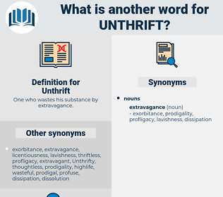 Unthrift, synonym Unthrift, another word for Unthrift, words like Unthrift, thesaurus Unthrift