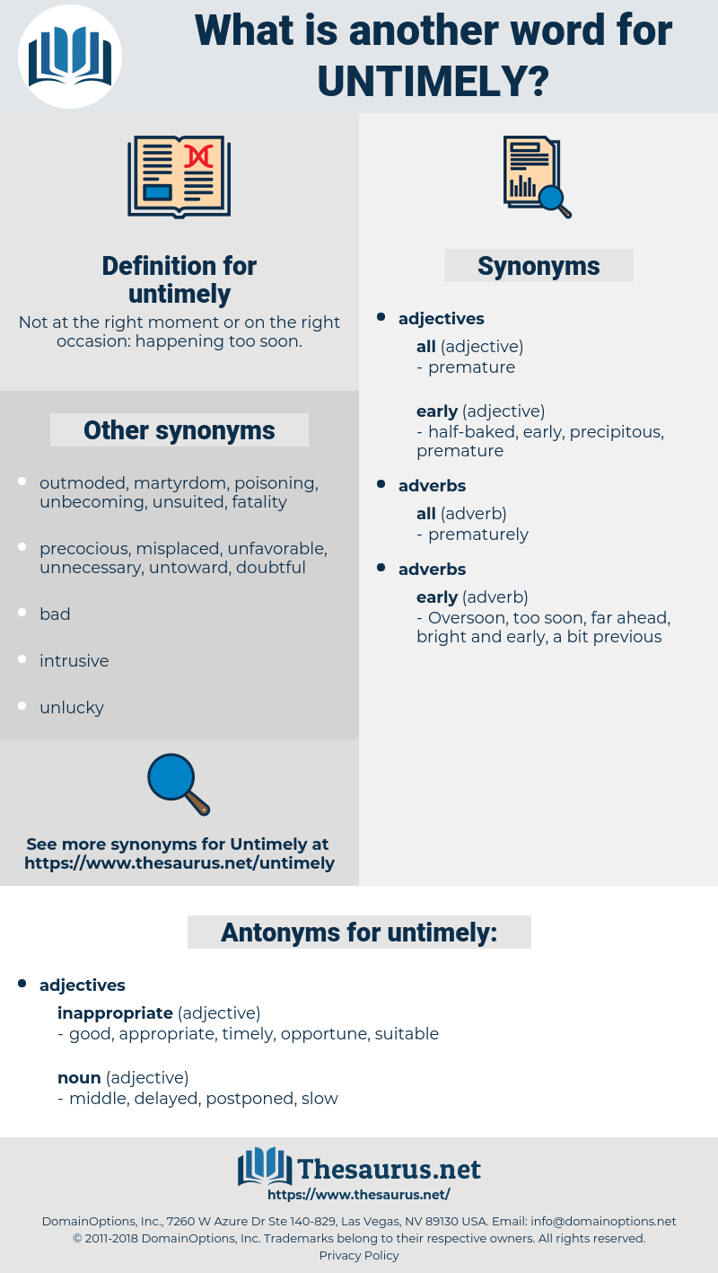 untimely, synonym untimely, another word for untimely, words like untimely, thesaurus untimely