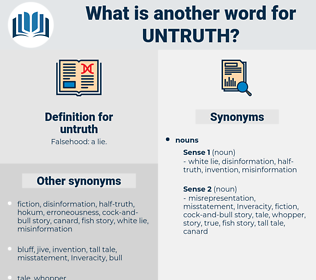 Synonyms for UNTRUTH, Antonyms for UNTRUTH - Thesaurus net