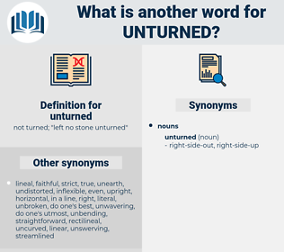 unturned, synonym unturned, another word for unturned, words like unturned, thesaurus unturned