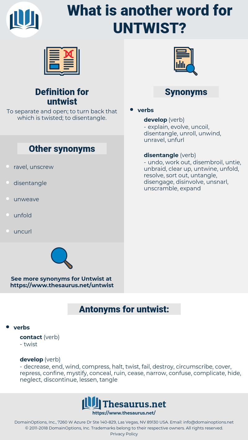 untwist, synonym untwist, another word for untwist, words like untwist, thesaurus untwist