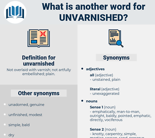 unvarnished, synonym unvarnished, another word for unvarnished, words like unvarnished, thesaurus unvarnished
