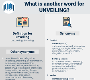 unveiling, synonym unveiling, another word for unveiling, words like unveiling, thesaurus unveiling