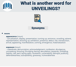 unveilings, synonym unveilings, another word for unveilings, words like unveilings, thesaurus unveilings