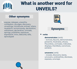 unveils, synonym unveils, another word for unveils, words like unveils, thesaurus unveils