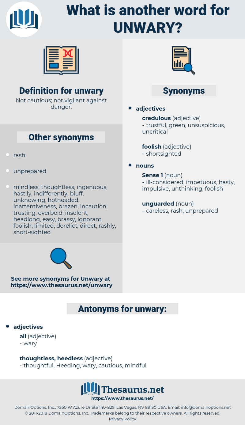 unwary, synonym unwary, another word for unwary, words like unwary, thesaurus unwary
