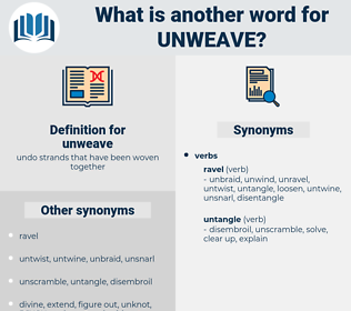 unweave, synonym unweave, another word for unweave, words like unweave, thesaurus unweave