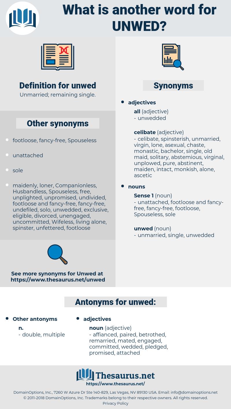 unwed, synonym unwed, another word for unwed, words like unwed, thesaurus unwed