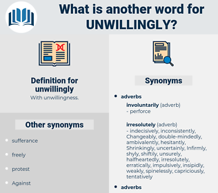 unwillingly, synonym unwillingly, another word for unwillingly, words like unwillingly, thesaurus unwillingly
