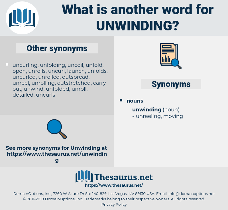 unwinding, synonym unwinding, another word for unwinding, words like unwinding, thesaurus unwinding