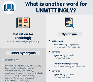 unwittingly, synonym unwittingly, another word for unwittingly, words like unwittingly, thesaurus unwittingly