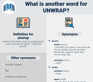 unwrap, synonym unwrap, another word for unwrap, words like unwrap, thesaurus unwrap