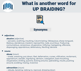up-braiding, synonym up-braiding, another word for up-braiding, words like up-braiding, thesaurus up-braiding