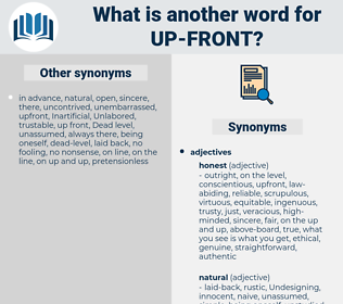 up front, synonym up front, another word for up front, words like up front, thesaurus up front