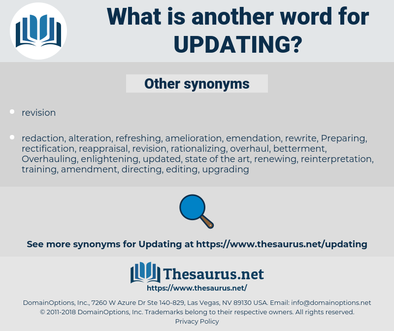 updating, synonym updating, another word for updating, words like updating, thesaurus updating
