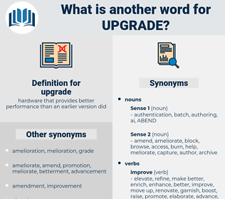 upgrade, synonym upgrade, another word for upgrade, words like upgrade, thesaurus upgrade