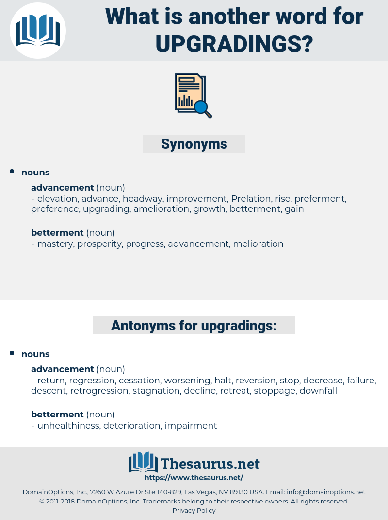 upgradings, synonym upgradings, another word for upgradings, words like upgradings, thesaurus upgradings
