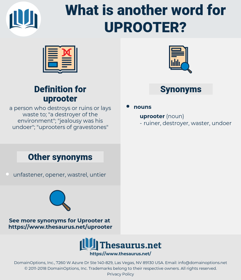 uprooter, synonym uprooter, another word for uprooter, words like uprooter, thesaurus uprooter