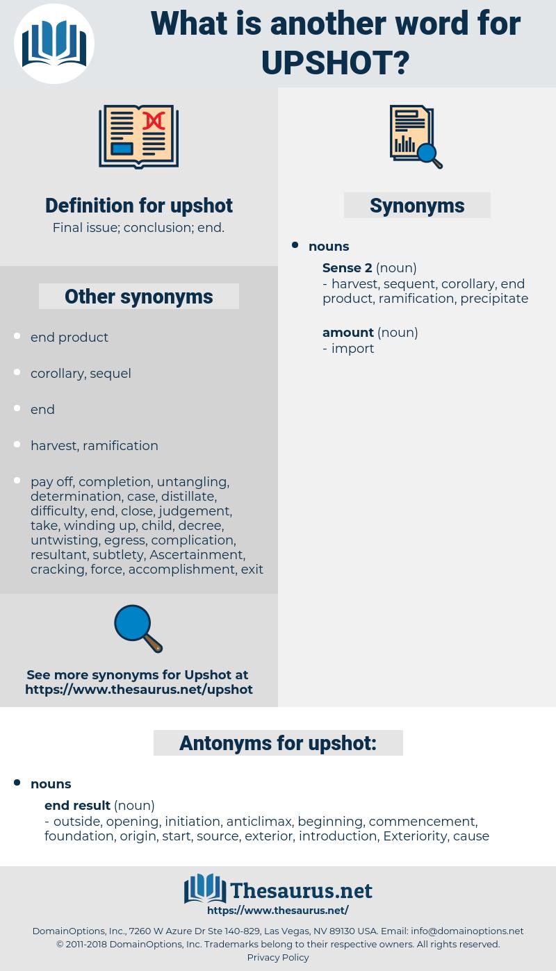 upshot, synonym upshot, another word for upshot, words like upshot, thesaurus upshot