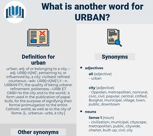 urban, synonym urban, another word for urban, words like urban, thesaurus urban